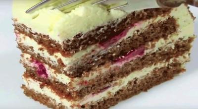 Бесподобный творожный торт с вишней за 30 минут